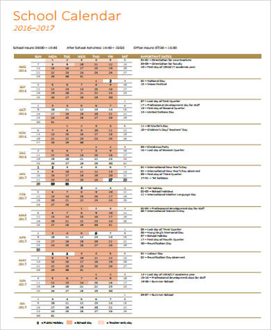 free school printable calendar pdf