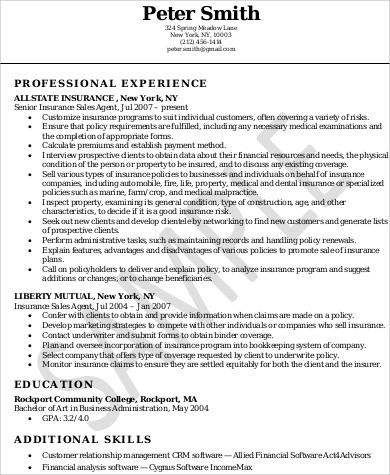 Insurance Agent Skills Resume In PDF  Resume For Insurance Agent