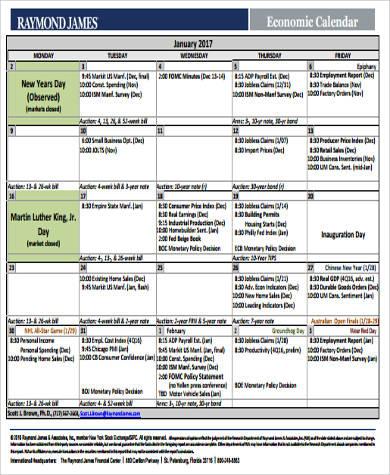 printable economic calendar