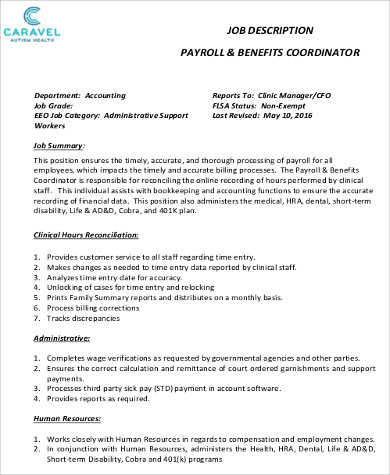 payroll and benefits coordinator job description