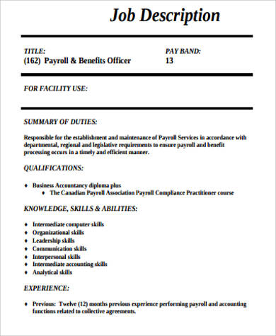 Payroll Officer Job Description Sample   Examples In Word Pdf