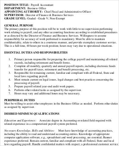 payroll accountant job duties description. Resume Example. Resume CV Cover Letter