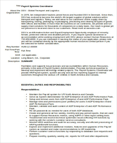 Payroll Coordinator Job Description Sample - 6+ Examples In Word, Pdf