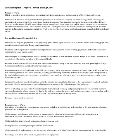Payroll Coordinator Job Description Sample   Examples In Word Pdf
