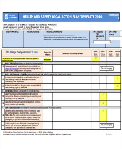 health and safety action plan