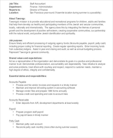 payroll staff accountant job description format