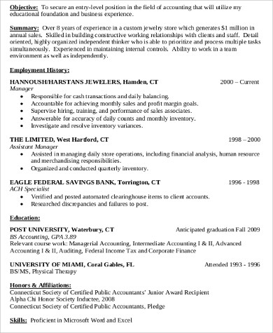 accounting entry level resume objective - Objectives For Entry Level Resumes