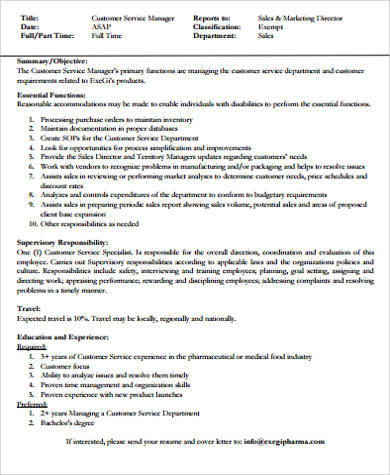 resume objective for customer service manager