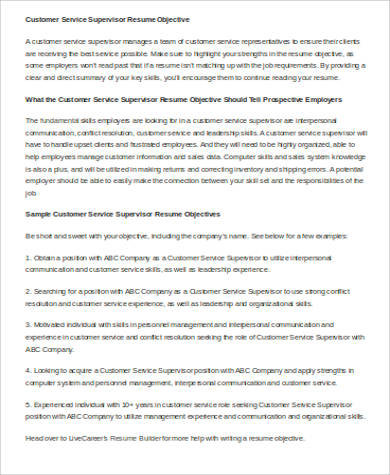 resume objective for customer service supervisor
