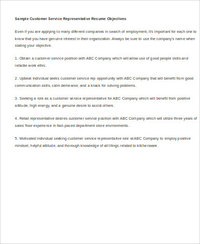 Samples Of Resume Objectives For Who Was Customer Service