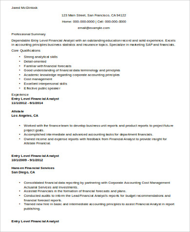 financial analyst entry level resume objective