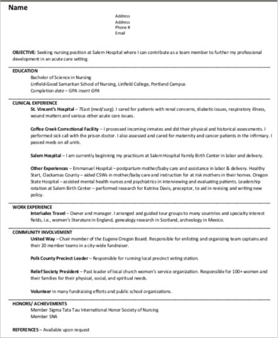 entry level nurse resume objective