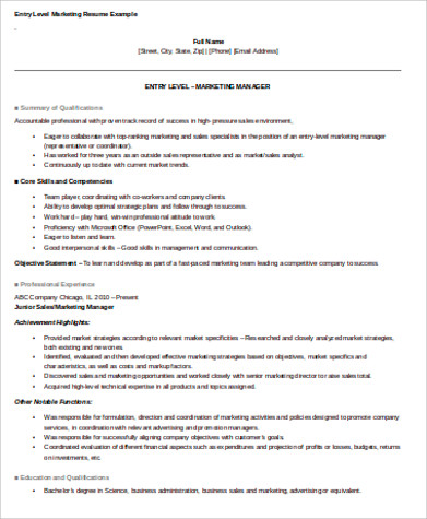 marketing entry level resume objective sample
