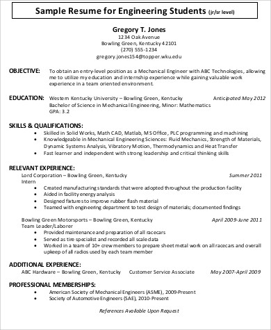 sample engineering resume objective