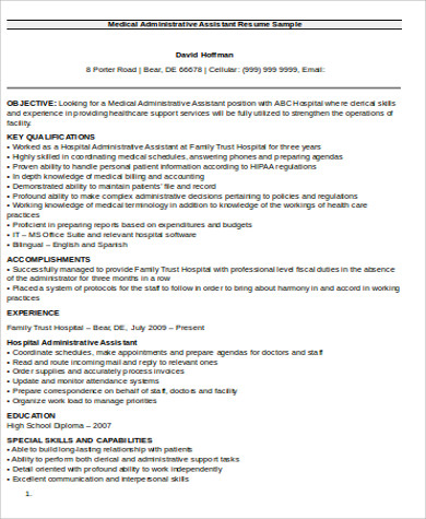 administrative medical assistant resume objective