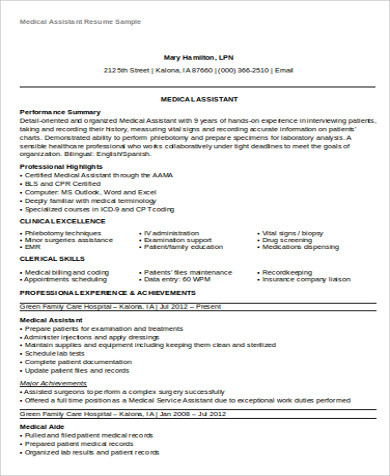 experienced medical assistant resume objective