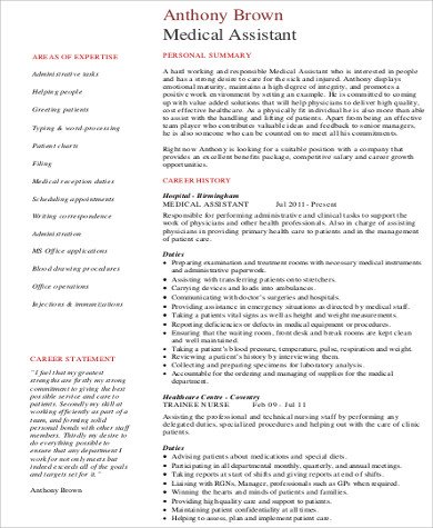 medical assistant resume sample objective
