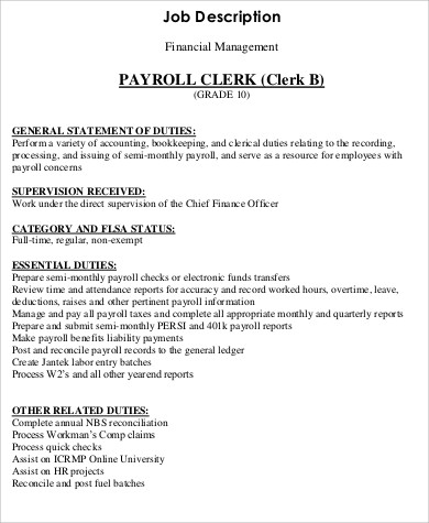 Payroll Clerk Job Description Sample   Examples In Word Pdf