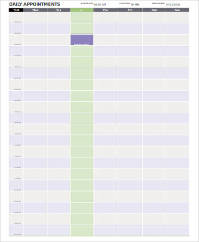 printable daily appointment calendar sample