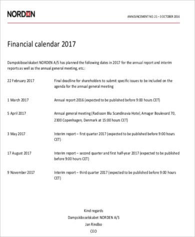 personal financial calendar sample