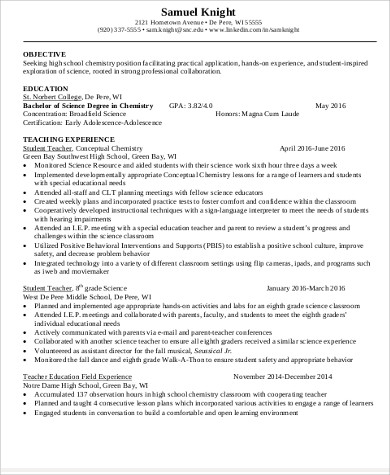 Teacher Resume Objective   Example In Word Pdf