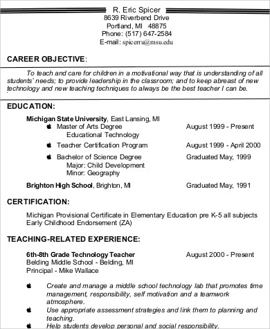 teacher resume career objective example