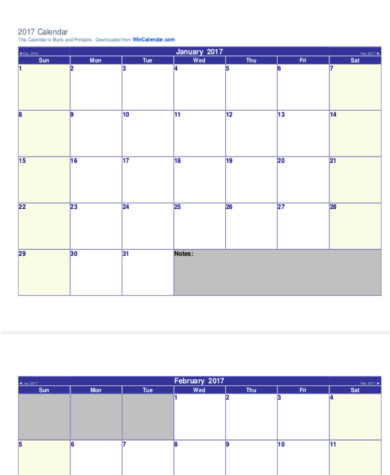 Blank Calendar Pdf Sample   Examples In Word Pdf