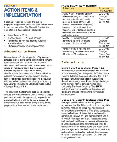 example student housing action plan