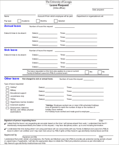 Holiday Leave Request Form  Holiday Leave Form Template