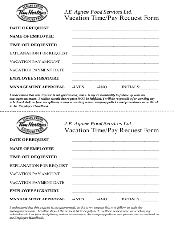 sample holiday pay request form