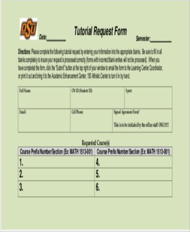 sample tutorial request form