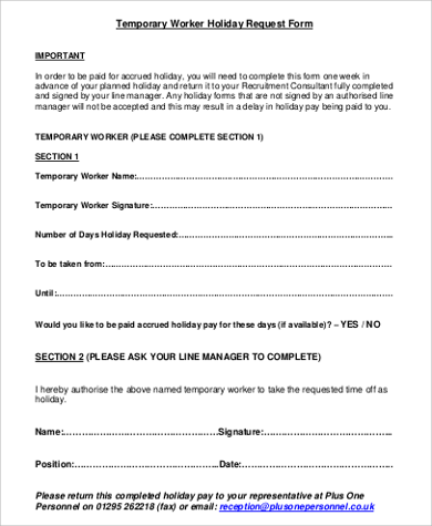 temporary worker holiday request form