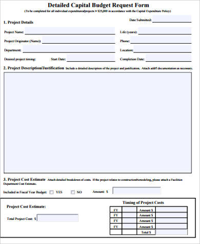 Sample Budget Request Form   Examples In Word Pdf