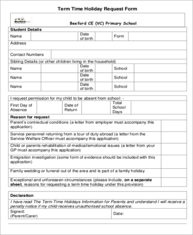 term time holiday request form