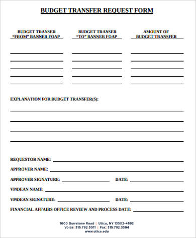 Budget Transfer Request Form In Pdf