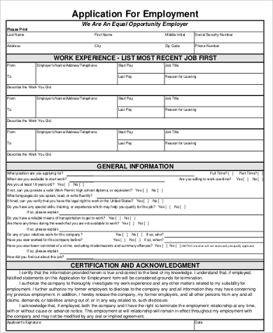 general application for employment print our general