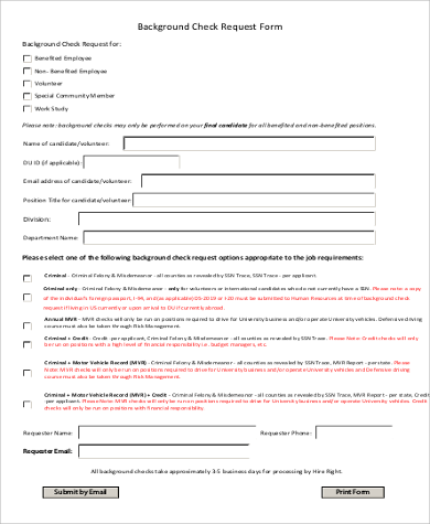 background check request form