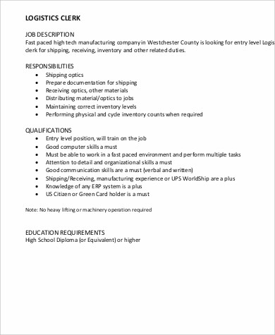 Logistics Clerk Job Description Sample   Examples In Word Pdf