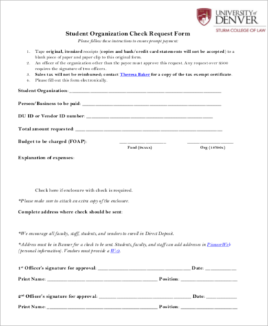 student organization check request form