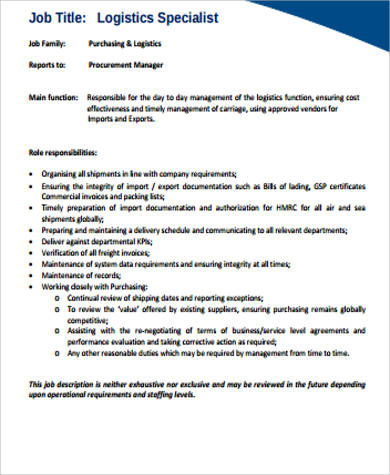 logistics specialist job description pdf