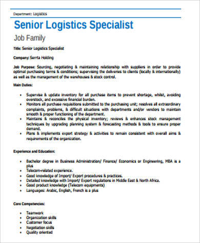 sample senior logistics specialist job description
