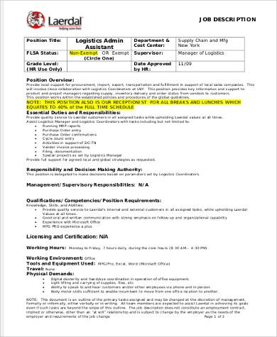 logistics admin assistant job description example