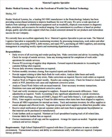 Logistics Specialist Job Description Sample   Examples In Word Pdf