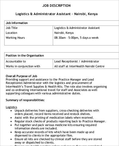 logistics and administrator assistant job description