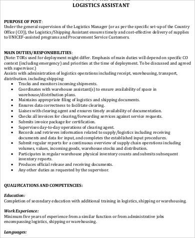 logistics assistant duties job description format