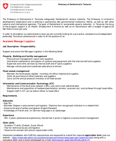 Logistics Assistant Job Description Sample   Examples In Word Pdf