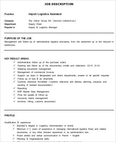 sample import logistics assistant job description