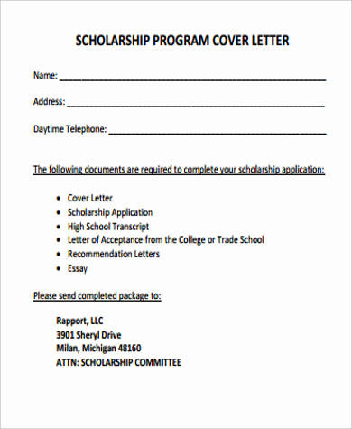 Cover Letter For Scholarship   Examples In Word Pdf