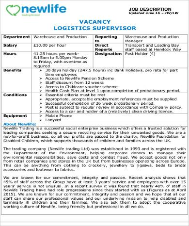 logistics warehouse supervisor job description