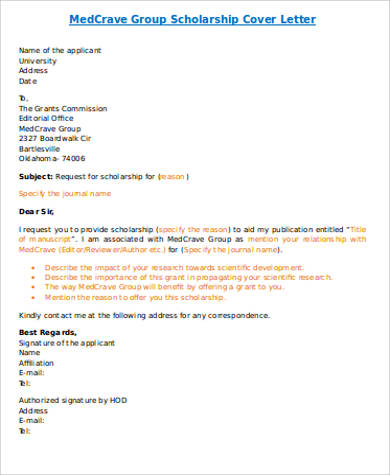 FREE 4+ Cover Letter for Scholarship in MS Word | PDF